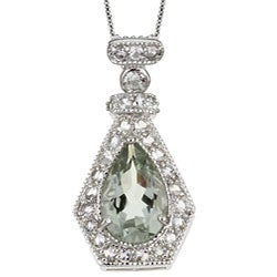 Glitzy Rocks Sterling Silver Green Amethyst and White Topaz Pear Art Deco Pendant
