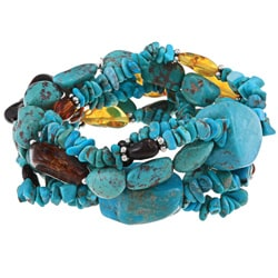 Glitzy Rocks Sterling Silver Turquoise and Amber 3-strand Stretch Bracelet