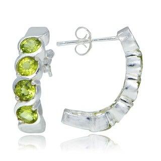 Glitzy Rocks Sterling Silver Peridot Curved Earrings