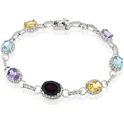 Glitzy Rocks Sterling Silver CZ Multi-gemstone Tennis Bracelet