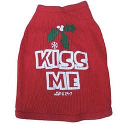 Ruff Ruff and Meow 'Kiss Me' Mistletoe Dog's Cotton Tank Top