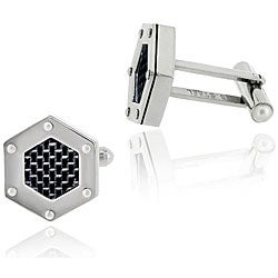 Mondevio Stainless Steel Black Hexagon Cuff Links