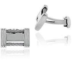 Mondevio Stainless Steel Rectangle Cable Cuff Links