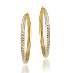 Mondevio 18k Gold over Silver Diamond-cut Hoop Earrings
