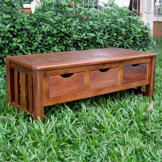 International Caravan Large 3-drawer Acacia Bench