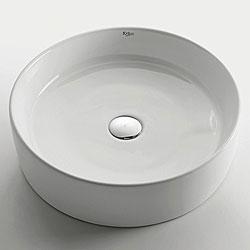 Kraus Sleek Round Ceramic Vessel Sink and Drain