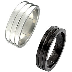 Stainless Steel Ribbed Rings (Set of 2)