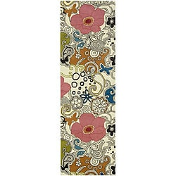 Hand-tufted Contemporary Multi Colored Floral Genesis Collection New Zealand Wool Rug (2'6 x 8')