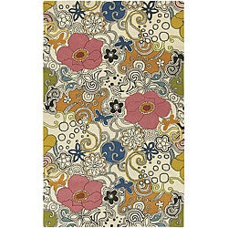 Hand-tufted Contemporary Multi Colored Floral Genesis Collection New Zealand Wool Rug (3'3 x 5'3)