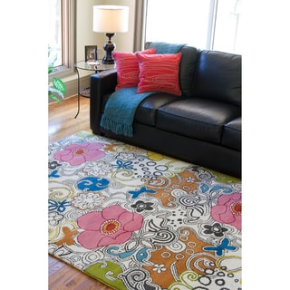Hand-tufted Contemporary Multi-colored Floral Genesis New Zealand Wool Rug (5' x 8')