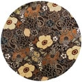 Hand-tufted Brown Floral Genesis New Zealand Wool Rug (7'9 Round)