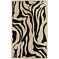 Handcrafted Zebra Collection Wool Rug (7'9 Round)
