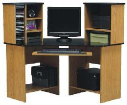 Black/ Oak Corner Computer Desk