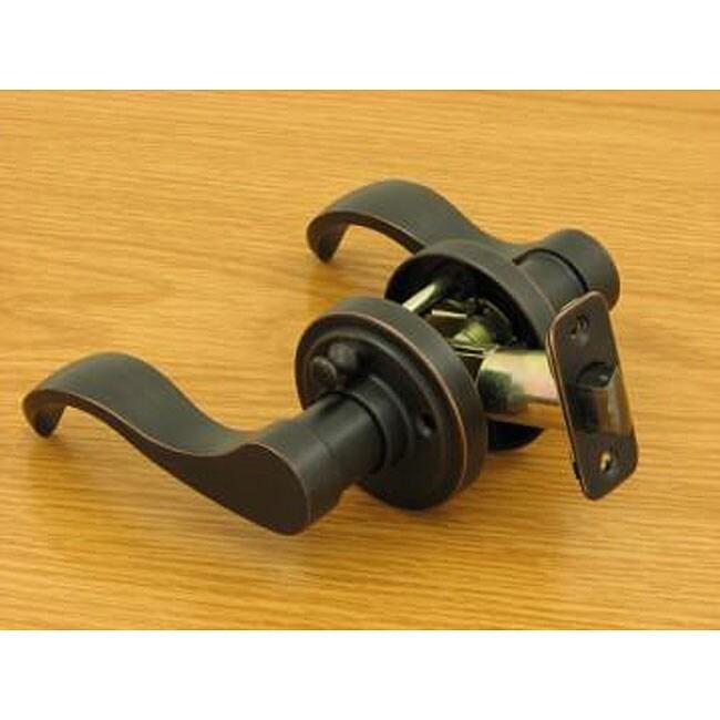 Dark oil rubbed bronze door lever privacy set