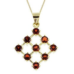 Glitzy Rocks 18k Yellow Gold over Sterling Silver Garnet Pendant