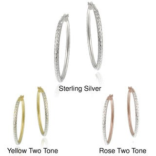 Mondevio 18k Yellow Gold Plated Rose Gold Plated, or Sterling Silver Diamond-cut Hoop Earrings