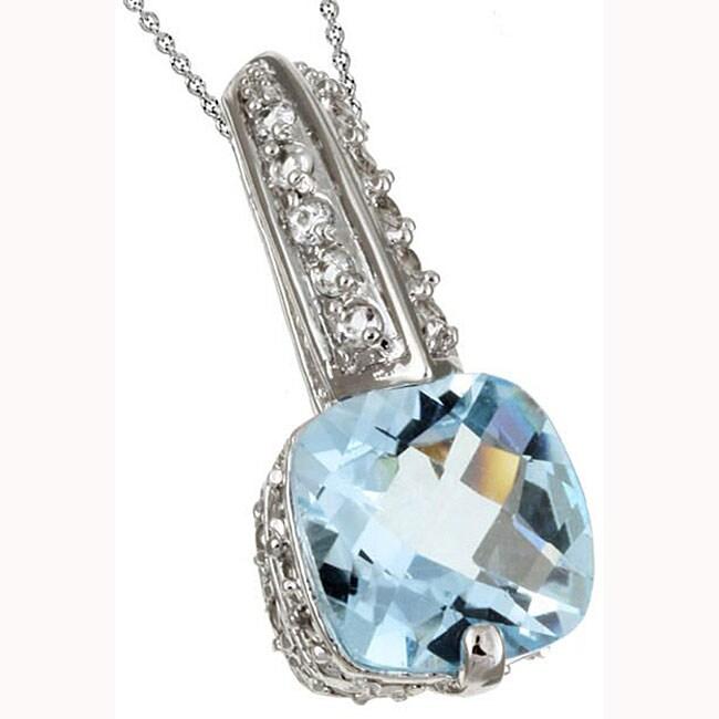 Glitzy Rocks Sterling Silver Blue and White Topaz Pendant