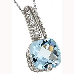 Glitzy Rocks Sterling Silver Blue and White Topaz Pendant