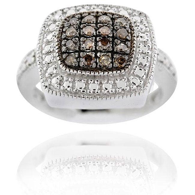 DB Designs Sterling Silver 1/5ct TDW Brown Diamond Square Ring