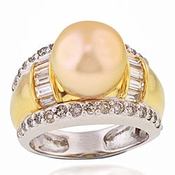 Michael Valitutti 18k Gold Tahitian Pearl/ 1 1/5ct TDW Diamond Ring (G-H, VS-SI) (10 mm)