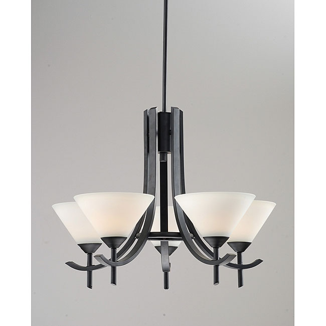 Frosted Glass 5-light Black Chandelier