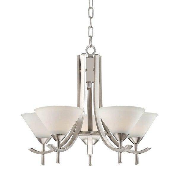 White Marble 5-light Spray Satin Nickel Chandelier