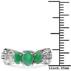 Malaika Sterling Silver Emerald Diamond Ring