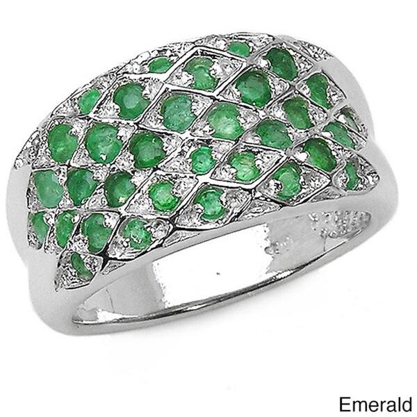 Malaika Sterling Silver Gemstone Cluster Ring