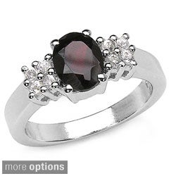 Malaika Silver Gemstone and Side Stone Ring