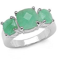 Malaika Sterling Silver Genuine Emerald 3-stone Ring