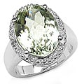 Malaika Sterling Silver Green Oval Amethyst and White Topaz Ring