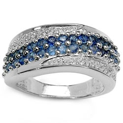 Malaika Sterling Silver Genuine Blue Sapphire and Diamond Ring