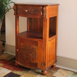 International Caravan Carved Wood Night Stand