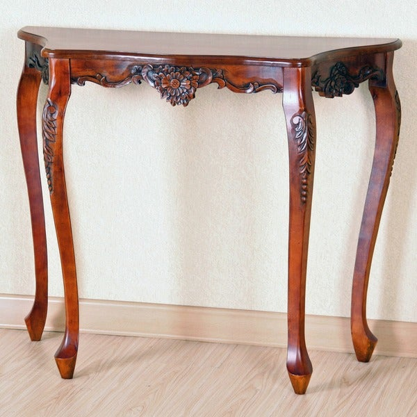 International Caravan Carved Wood Scalloped Wall Table