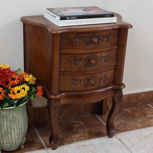 International Caravan Carved Wood 3-drawer Night Stand