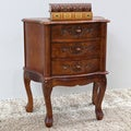 International Caravan Carved Wood 3-drawer Night Stand