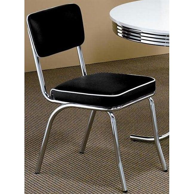 Black Retro Chrome Chairs (Set of 2)
