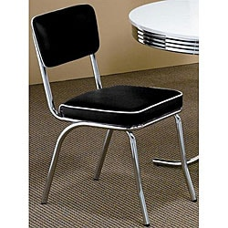 Black Retro Chrome Chairs (Set of 2)