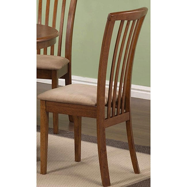 Cherry Oak Wood Slat-back Chairs (Set of 2)