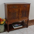 International Caravan Carved Wood Cupboard with 2 Drawers and 2 Doors