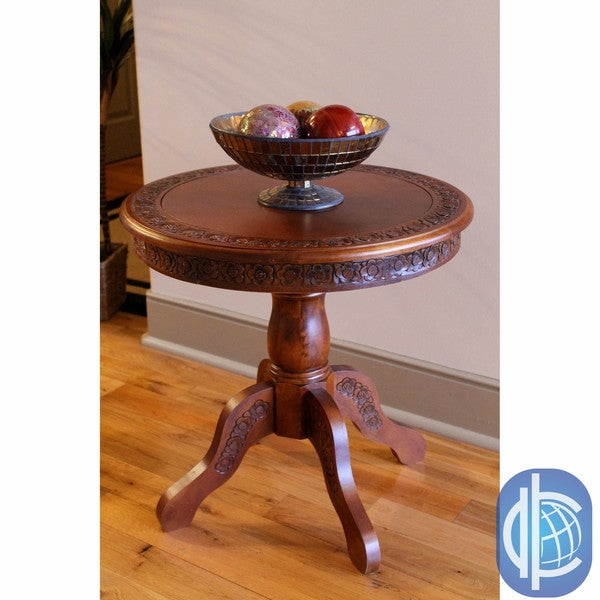 International Caravan Carved Wood Round Table