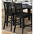 Black Wood Slat-back Counter Stools (Set of 2)