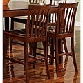 Walnut Wood Slat-back Counter Stools (Set of 2)