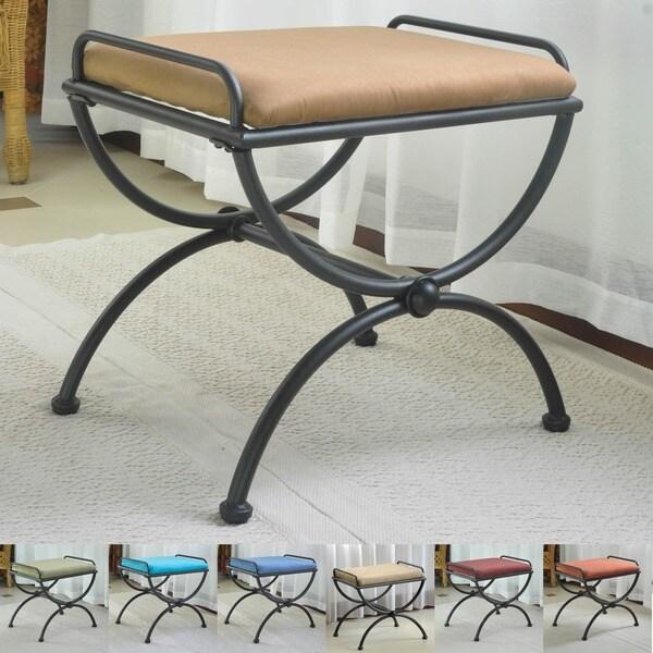 International Caravan Iron and Microsuede Vanity Stool