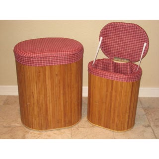 International Caravan Bamboo Hampers with Plaid Seat and Liner (Set of 2)