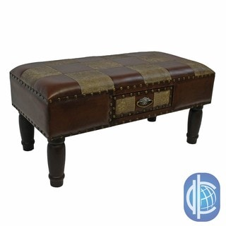 International Caravan Faux Leather Medium 1-drawer Bench