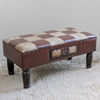 International Caravan Faux Leather Medium 1-drawer Bench