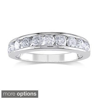 Miadora 14k White Gold 1/4ct to 1 1/2ct TDW Diamond Semi Eternity Band (G-H, I1-I2)