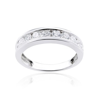 Miadora 14k White Gold Diamond Semi Eternity Band (G-H, I1-I2)