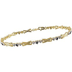 Miadora 10k Gold 'X' and Heart Link Blue Sapphire Bracelet